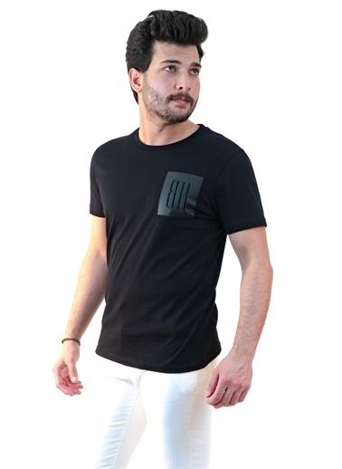 Boris Becker Kısa Kol Bisiklet Yaka Logo Baskılı Erkek Tshirt Siyah